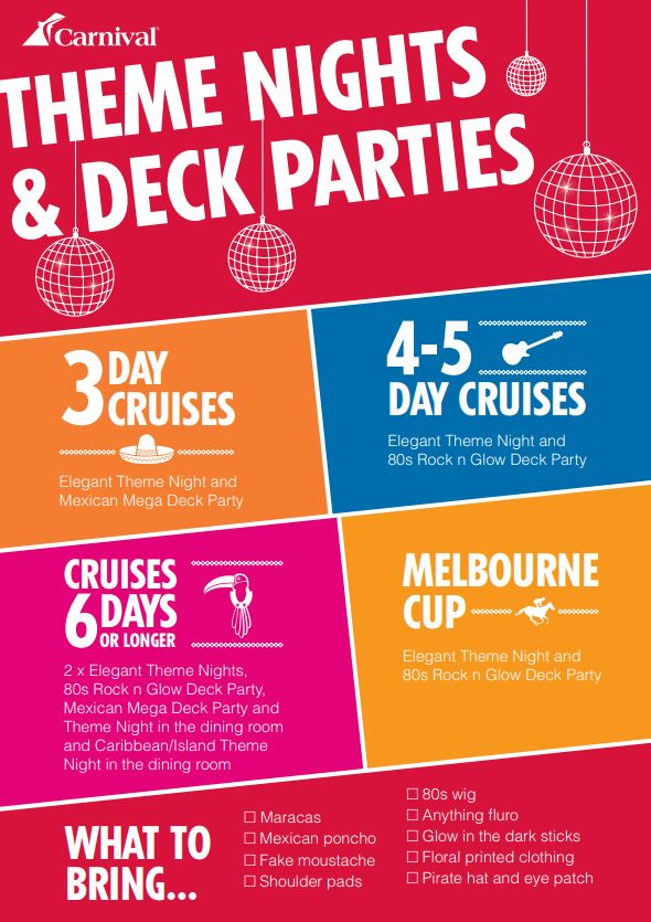 download Carnival Cruises brochure: Theme Nights and Deck Parties