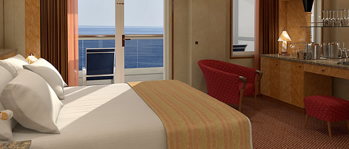 Balcony (premium) cabin on the Carnival Spirit