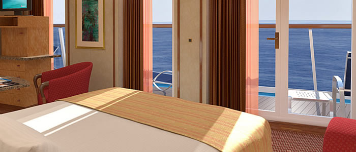 Suite (vista) cabin on the Carnival Spirit